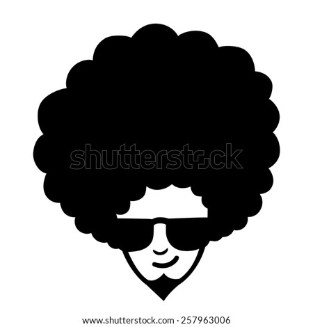 Doodle illustration of man face with frizzy hair - stock vector