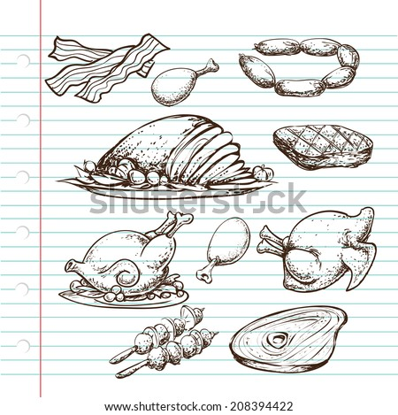 Doodle illustration of protein source, cooked and uncooked, meats of cow, chicken and bacon - stock vector