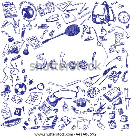 Doodle illustration of school objects. Blue pen. Outlined illustration of design elements.