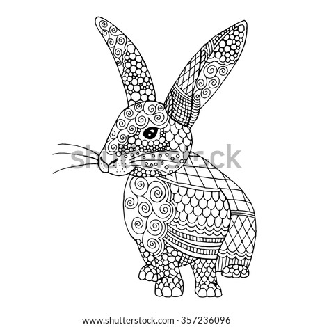 Doodle illustration on an bunny, Rabbit illustration in black and white - stock vector