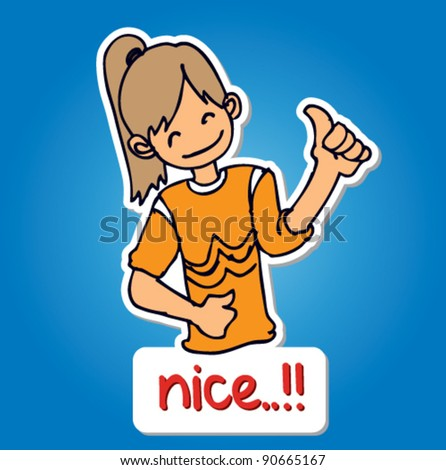 doodle illustration sticker of a young girl holding their thumbs up