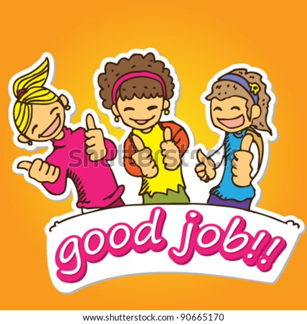 doodle illustration sticker of three young girl holding their thumbs up - stock vector
