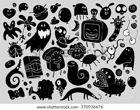 Doodle illustrations set with many fantasy funny characters, monsters, strange creatures in black silhouette - stock vector