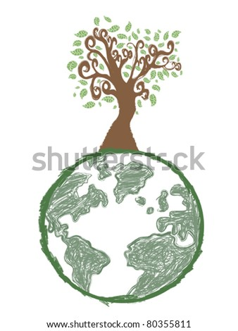 doodle image of earth tree - stock vector