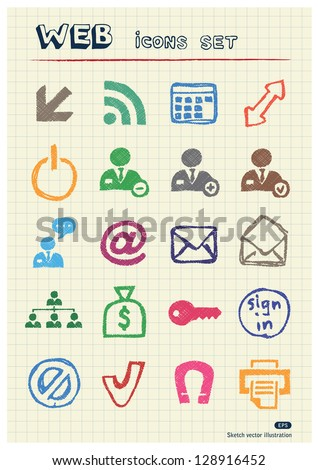 Doodle Internet and finance icons set drawn by color pencils. Hand drawn vector elements pack isolated on paper - stock vector