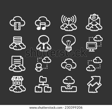 Doodle internet icon set - stock vector