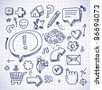 doodle internet icons on white background - vector illustration - stock vector