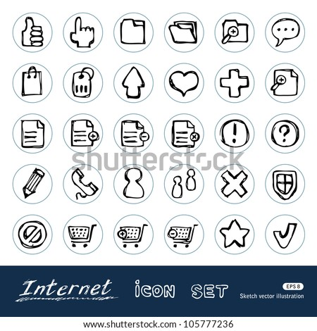 Doodle Internet web icons set. Hand drawn sketch illustration isolated on white background - stock vector