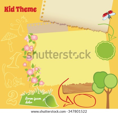 Doodle Kid Template with cartoon illustrations - stock vector
