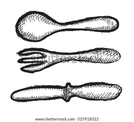 doodle  knife, fork and spoon, vector illustration