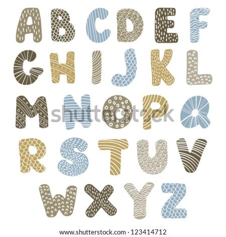 doodle latin alphabet - stock vector