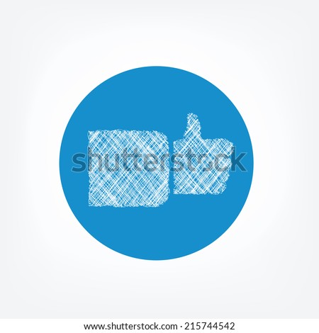 Doodle like icon on blue background. Symbol of famous social network, thumbs up icon. - stock vector