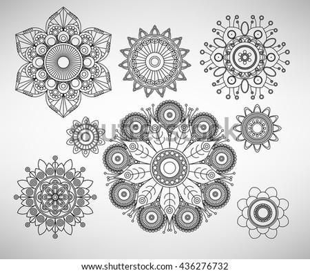 Doodle line art complex flower illustrations set - stock vector