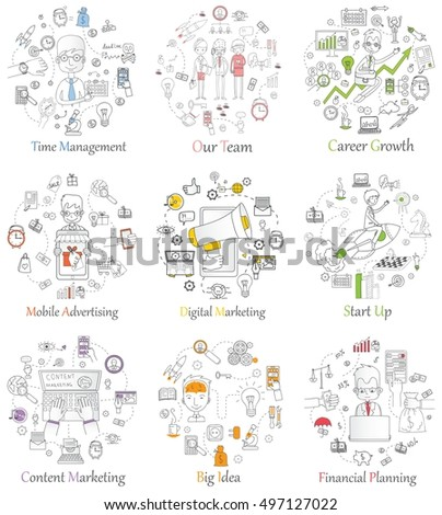 Doodle line design of web banner templates with outline icons of start up,digital marketing, mobile advertising team work, career growth and time management.