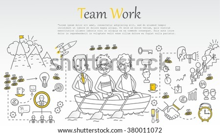 Doodle line design of web banner templates with outline icons of team work.Vector illustration concept for website or infographics.  - stock vector