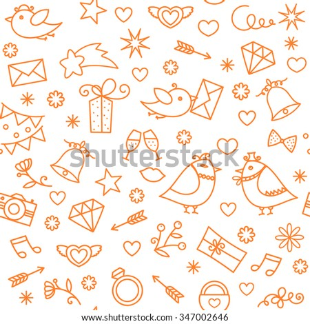 Doodle line hand drawn symbols set. Vector seamless pattern for wedding, valentines day, engagement, baby birthday, celebration party, events. Romantic hearts, arrows, gift box, birds, flowers, stars. - stock vector