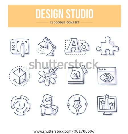 Doodle line icons of design studio production process, creativity and imagination. Design thinking vector illustration concepts - stock vector