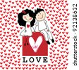 Doodle lovers: a boy and a girl holding hands, sitting at the love box with red hearts around - stock photo