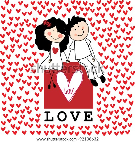 Doodle lovers: a boy and a girl holding hands, sitting at the love box with red hearts around - stock vector