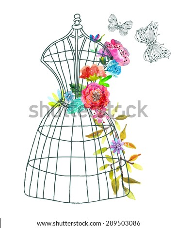 Doodle mannequin with watercolor flowers and butterfly over white, Vector