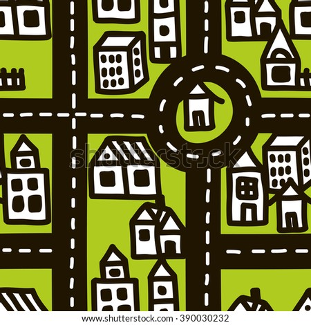 Doodle map of cute town. Vector seamless pattern. - stock vector