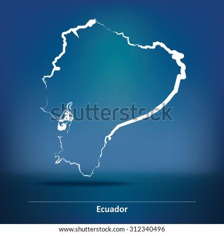Doodle Map of Ecuador - vector illustration - stock vector