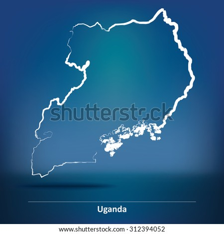 Doodle Map of Uganda - vector illustration - stock vector