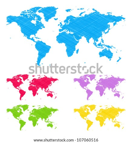 Doodle maps - stock vector