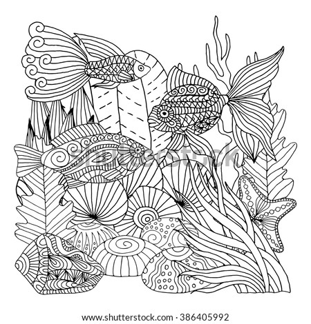 Doodle marine life pattern. Zentangle style background fot coloring books - stock vector