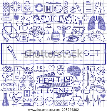 Doodle medical set of icons with medical and science tools, human organs etc. Vector illustration.