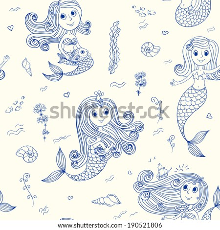 Doodle mermaids seamless pattern. Vector sketch background. - stock vector