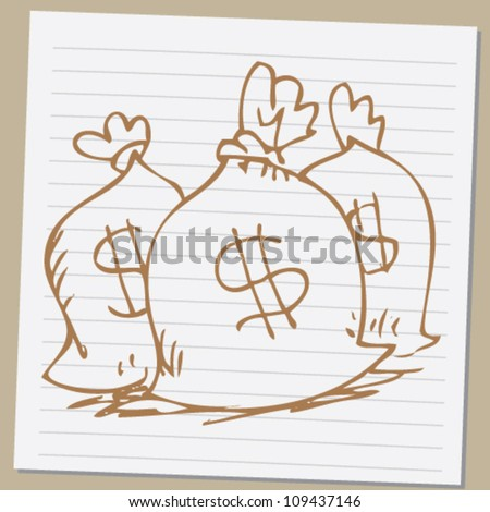 doodle money bag illustration - stock vector
