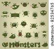 doodle monster set - stock vector