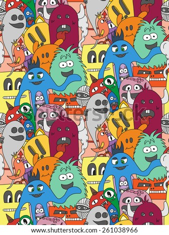 Doodle monsters seamless pattern. Colorful vector image - stock vector