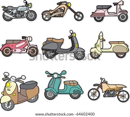 doodle motorcycle element - stock vector