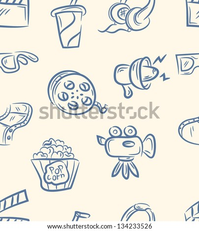 doodle movie set  .Seamless pattern - stock vector