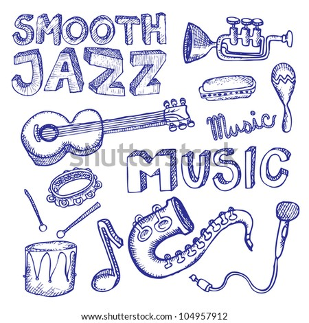 doodle music - stock vector
