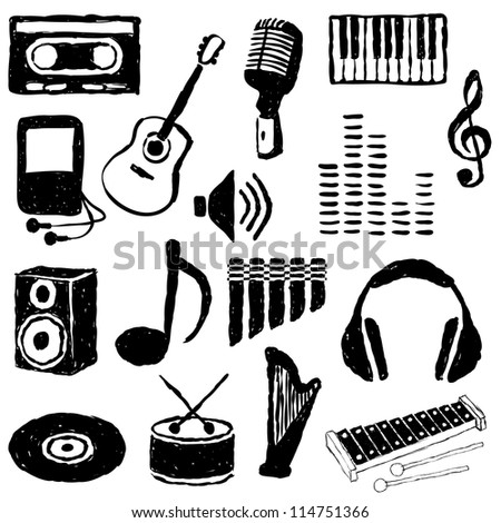 doodle music images - stock vector