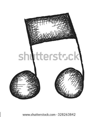doodle music note,  vector design element - stock vector