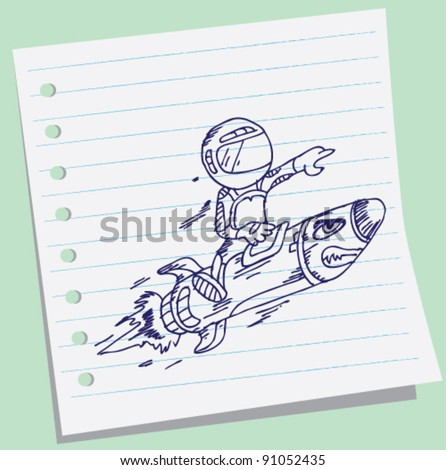 doodle of astronaut boy fly riding red fast rocket. - stock vector