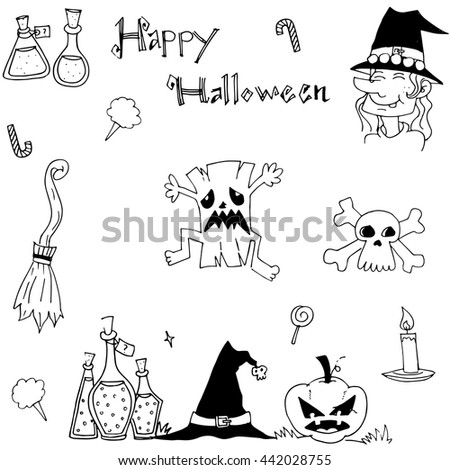 doodle of element halloween for kids hand draw - Halloween Pictures For Kids To Draw
