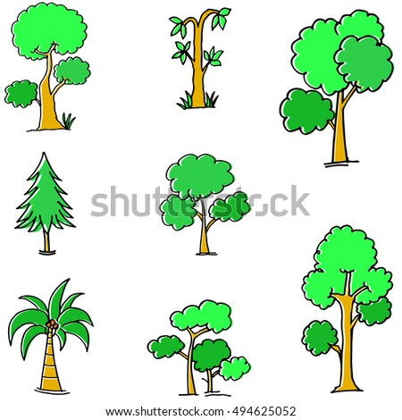 Doodle of green tree different vector flat