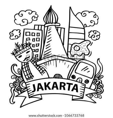 Doodle Jakarta Stock Vector 1066733768