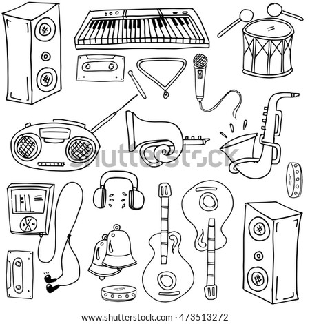 Doodle of music element hand draw illustration