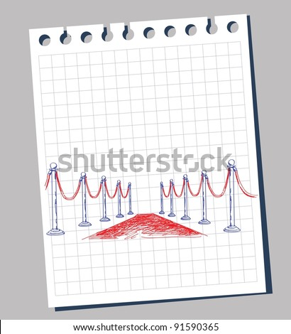 doodle of red carpet - stock vector