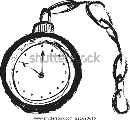 doodle old pocket watch - stock vector