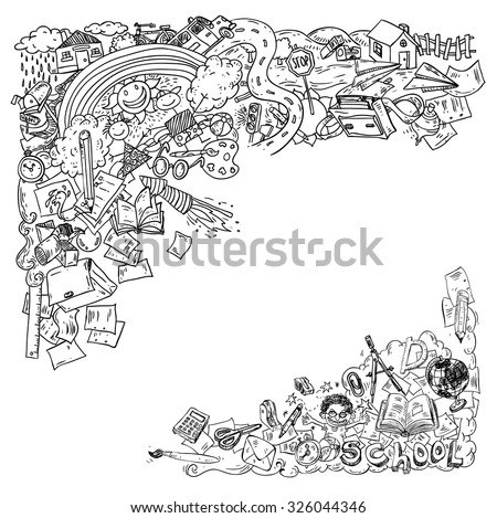 Doodle on paper, Back to School Illustration. - stock vector