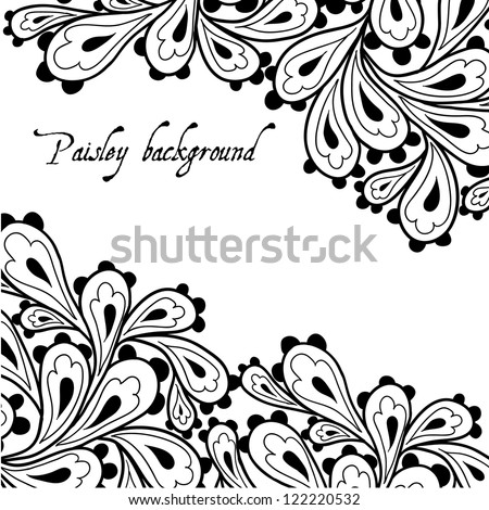 Doodle paisley background. - stock vector
