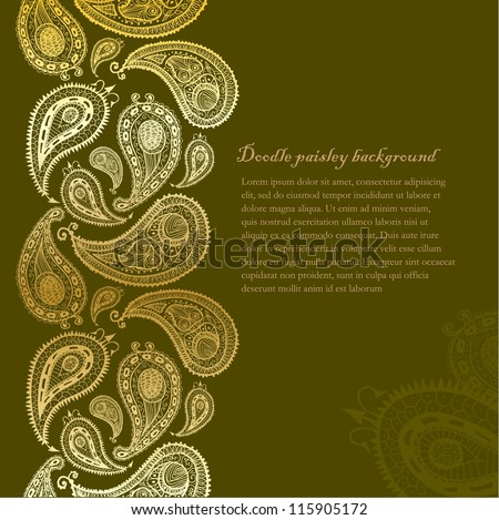 Doodle paisley seamless line background. - stock vector