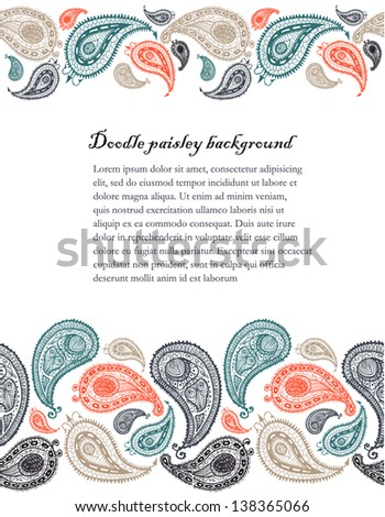 Doodle paisley seamless lines background. - stock vector